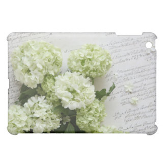 white hydrangeas with script writing iPad case