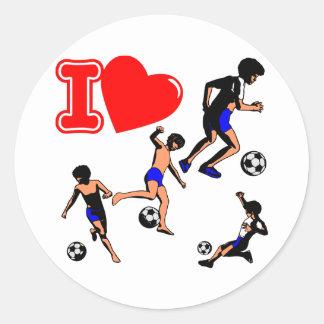 White I Heart Love Soccer Round Stickers