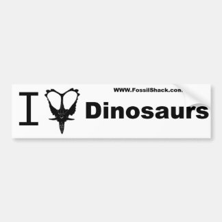 White I love Dinosaurs Bumper Sticker