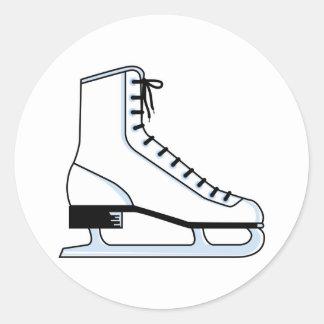 white ice skate vector graphic round sticker