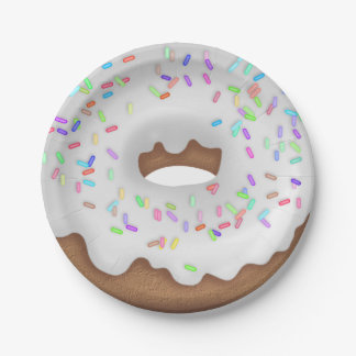 White iced donut paper plate