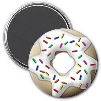White Iced Doughnut 7.5 Cm Round Magnet