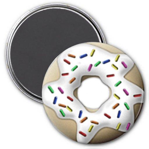 White Iced Doughnut Fridge Magnet