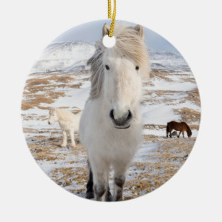 White Icelandic Horse, Iceland Christmas Ornament