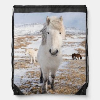 White Icelandic Horse, Iceland Drawstring Bag