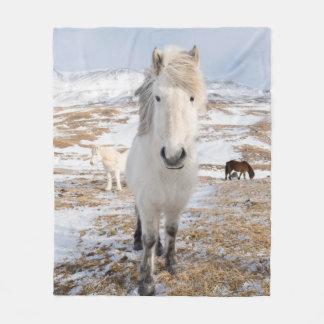 White Icelandic Horse, Iceland Fleece Blanket