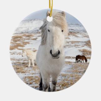 White Icelandic Horse, Iceland Round Ceramic Decoration