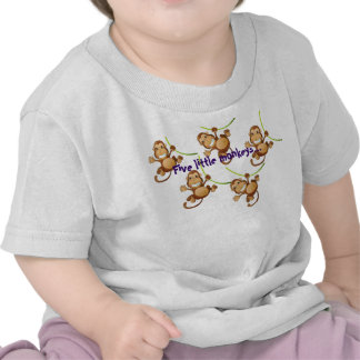 White Infant T-shirt with Five Little Monkeys...