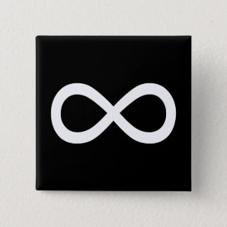 White Infinity Symbol 15 Cm Square Badge