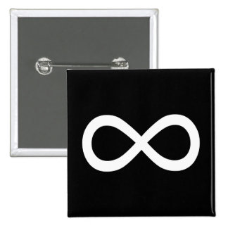 White Infinity Symbol 15 Cm Square Badge