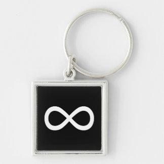 White Infinity Symbol Key Ring