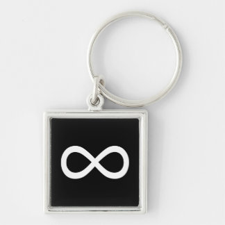 White Infinity Symbol Silver-Colored Square Key Ring