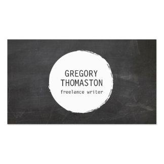 White Ink Blot Circle Logo on Black Chalkboard Pack Of Standard Business Cards