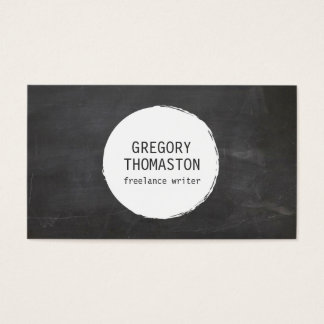 White Ink Blot Circle Logo on Black Chalkboard Business Card