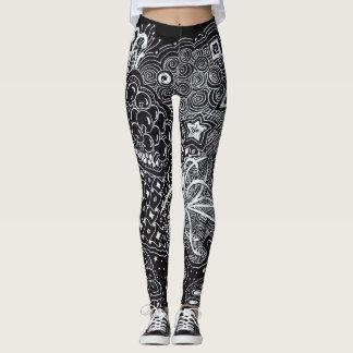 White Ink on Black Random Doodling Fashion Leggings
