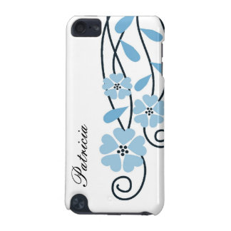 White iPod Touch 4g Case Blue Flowers iPod Touch 5G Covers