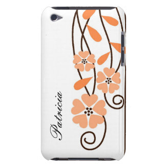 White iPod Touch 4g Case::Orange Flowers iPod Case-Mate Cases