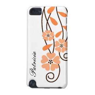 White iPod Touch 4g Case::Orange Flowers iPod Touch (5th Generation) Cases
