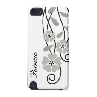 White iPod Touch 4g Case::Silver Grey Flowers iPod Touch (5th Generation) Covers