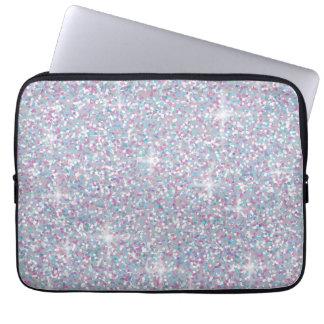 White iridescent glitter laptop sleeve