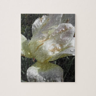 White iris flower with droplets in spring puzzle