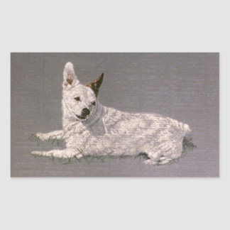 White Jack Russell Terrier Rectangular Sticker