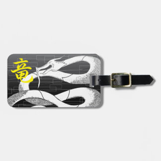 White Japanese Dragon Black Background Luggage Tag