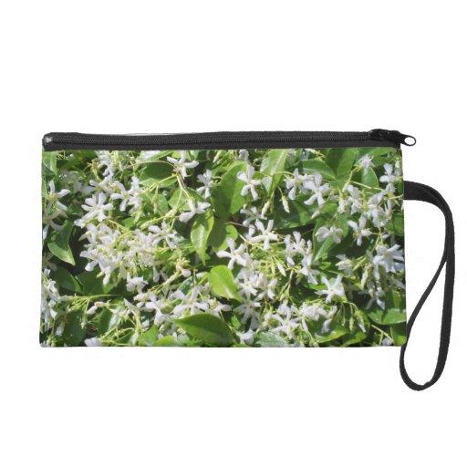 White Jasmine Flowers Wristlet Clutch
