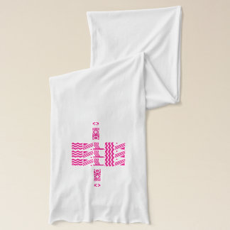 WHITE JERSEY SCARF WITH HOT PINK PATTERN