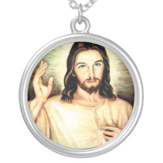 white-jesus silver plated necklace