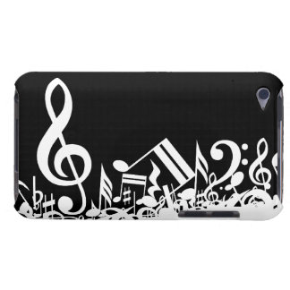 White Jumbled Musical Notes on Black Barely There iPod Case