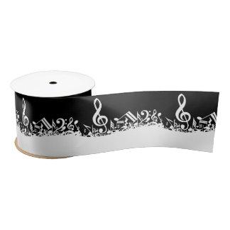 White Jumbled Musical Notes on Black Satin Ribbon
