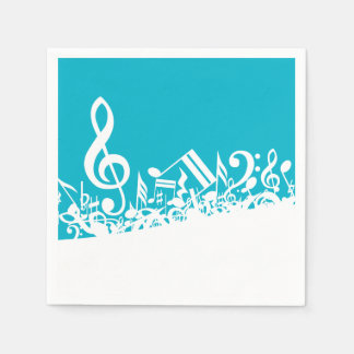 White Jumbled Musical Notes on Turquoise Paper Serviettes