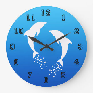 White Jumping Dolphin With Bubbles Clock