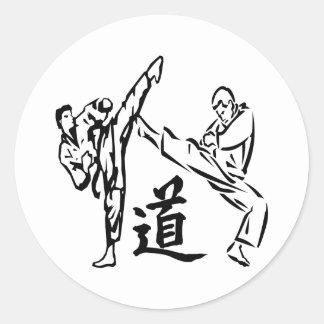 White Karate Kicks Tao The Way Round Sticker