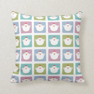 White Kawaii Chicken Sqaure Pattern Cushion