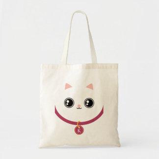 White Kawaii Kitty Cat Face Custom Name Monogram Budget Tote Bag
