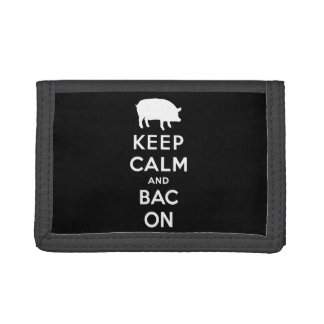 White keep calm and bacon trifold wallets