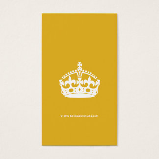 White Keep Calm Crown on Gold Background Business Card