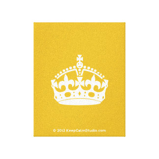 White Keep Calm Crown on Gold Background Canvas Print