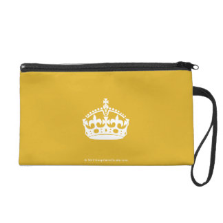 White Keep Calm Crown on Gold Background Wristlet