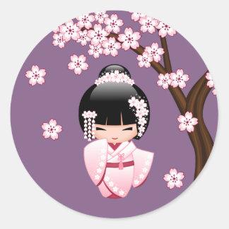 White Kimono Kokeshi Doll - Cute Geisha Girl Classic Round Sticker