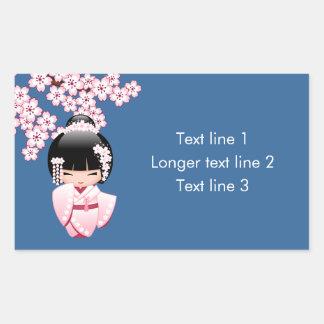 White Kimono Kokeshi Doll - Cute Geisha Girl Rectangular Sticker