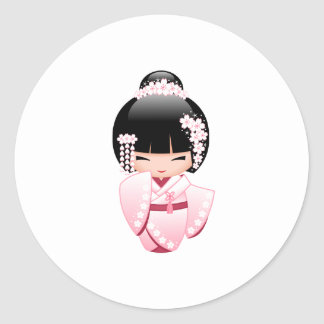 White Kimono Kokeshi Doll - Cute Geisha Girl Round Sticker