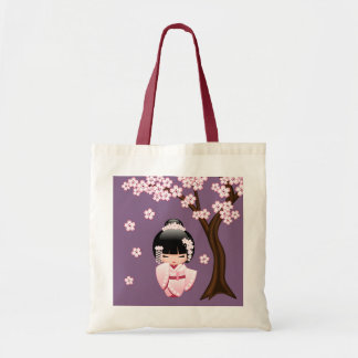 White Kimono Kokeshi Doll - Cute Geisha Girl Tote Bag