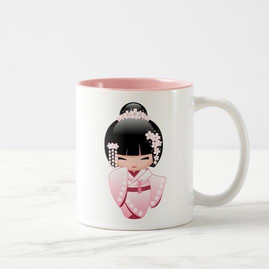 White Kimono Kokeshi Doll - Cute Geisha Girl