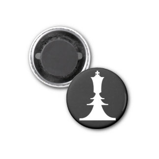 white king 3 cm round magnet