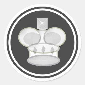 White King Chess Piece Round Sticker