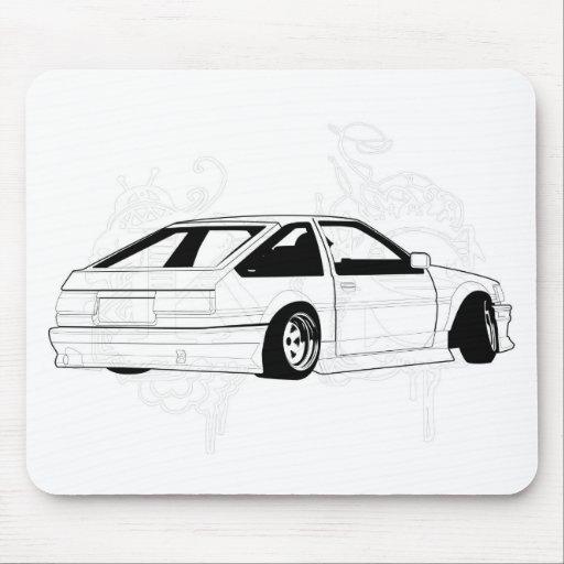 White KIS Levin AE86 Mousepads