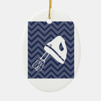 White-Kitchen - Hand mixer on chevron Christmas Ornament